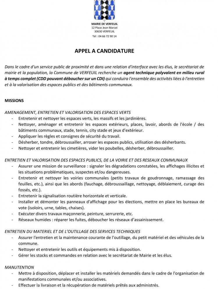 Appel a candidature adjoint technique territorial site 1