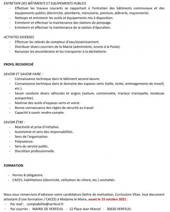 Appel a candidature adjoint technique territorial site 2bis